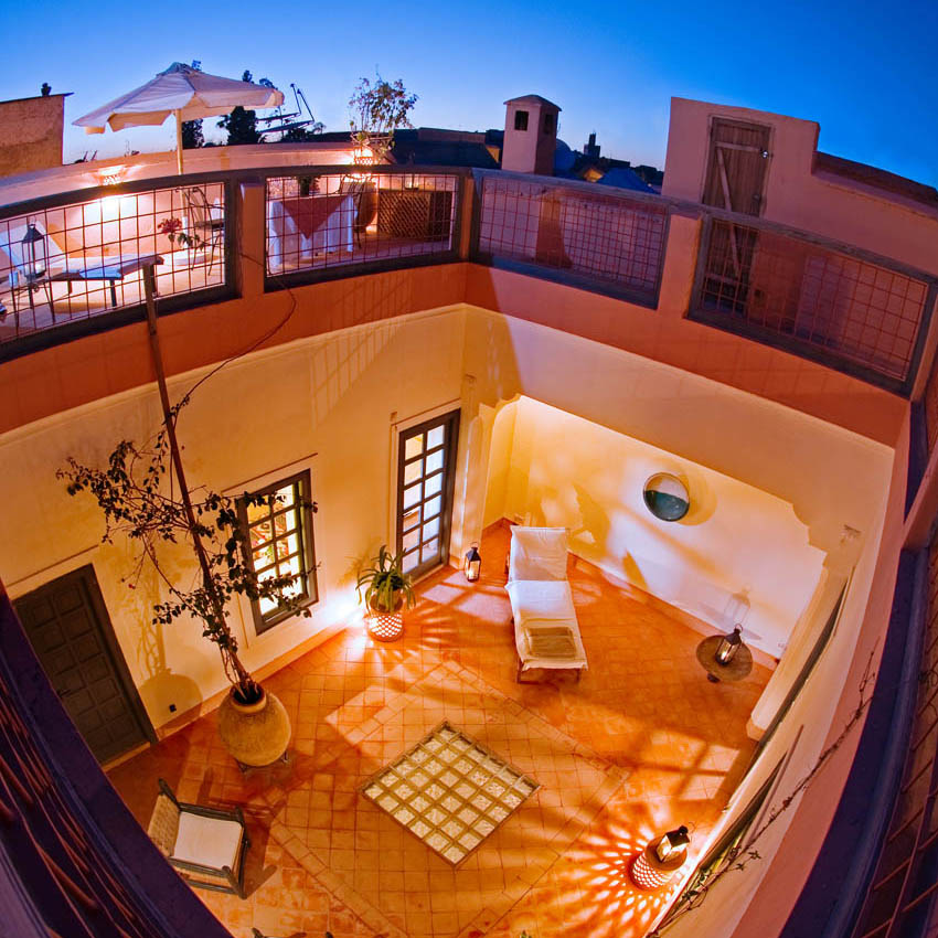         A fisheye perspective of the private patio