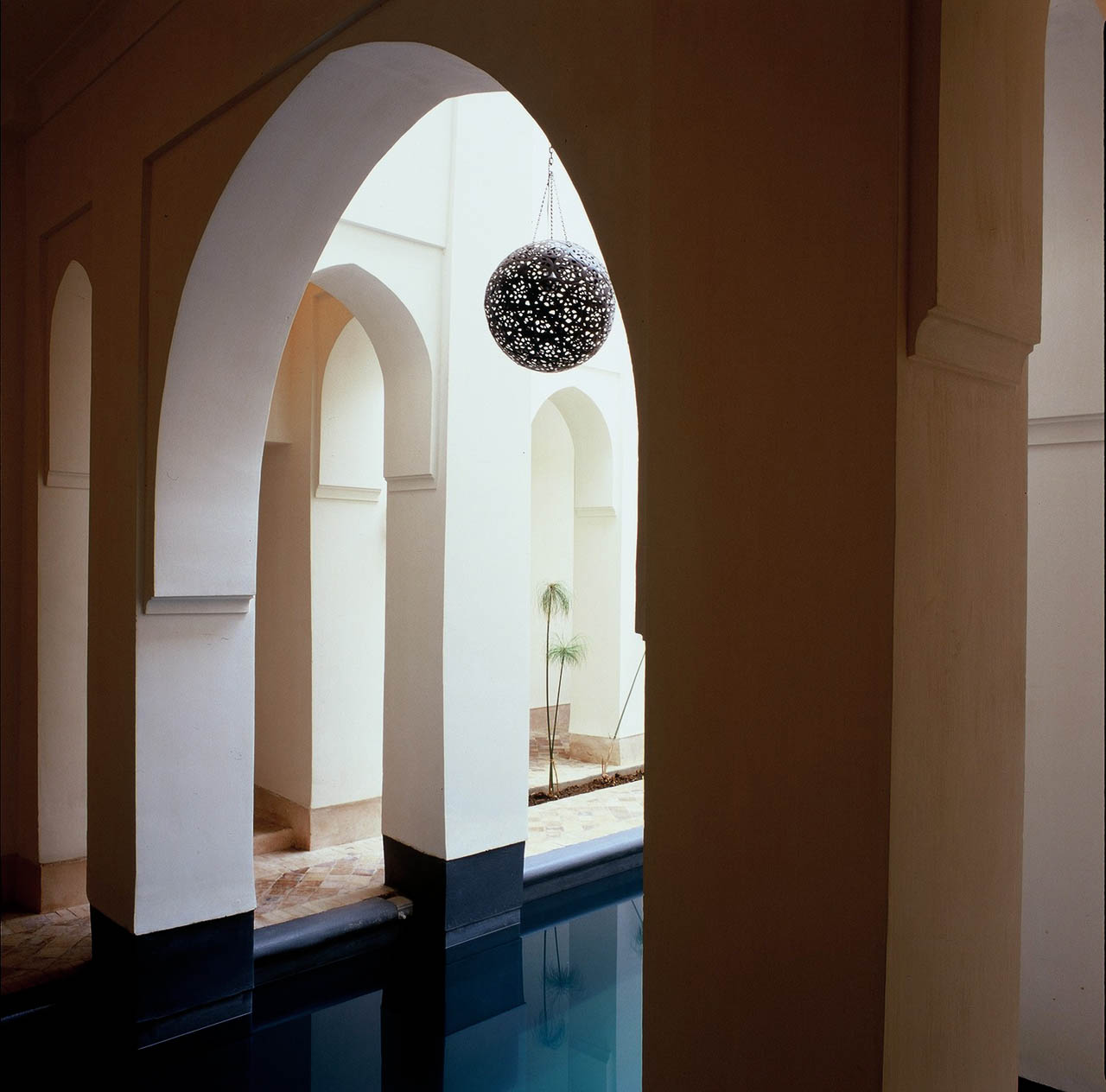 The pool courtyard that can be seen from the room
