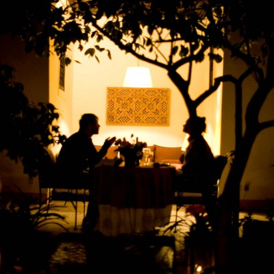 Evening dinner on patio