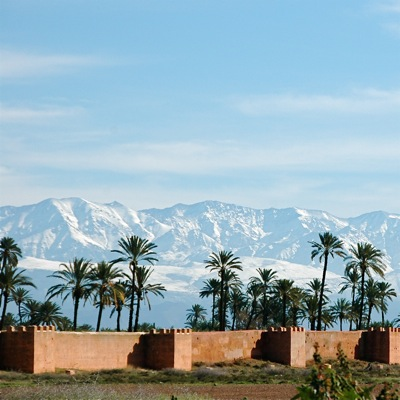Marrakech city walls - Atlas mountains